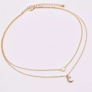 💛🌙 Gold Heart and Moon Choker Necklace